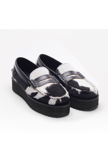 DAN WEDGE W COW FUR Black Whit